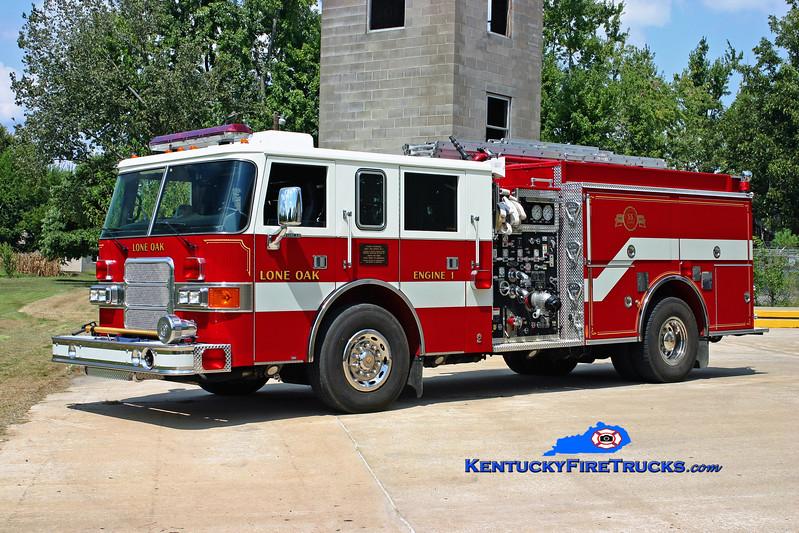 <center> Lone Oak  Engine 1 <br> 2001 Pierce Enforcer 1500/750 <br> Kent Parrish photo </center>