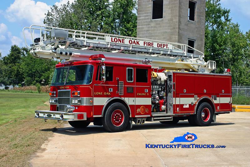 <center> Lone Oak  Engine 9 <br> 1992 Pierce Lance 1500/500/65' Tele-Squrt <br> Kent Parrish photo </center>