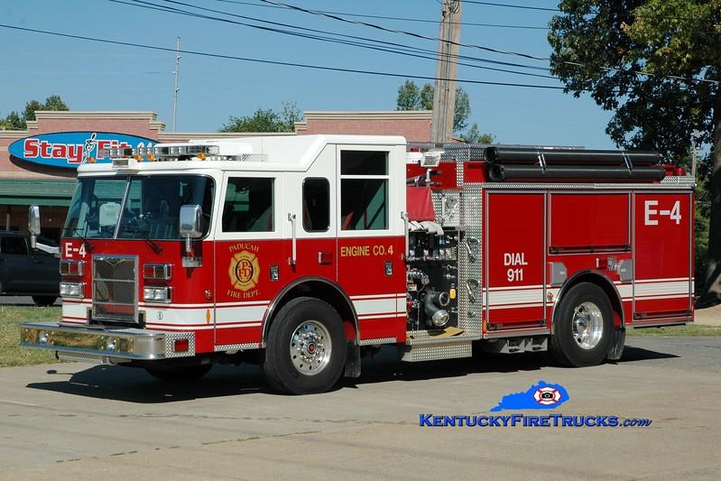 <center> Paducah  Engine 4 <br> x-Engine 1 <br> 2009 Pierce Contender 1500/750 <br> Greg Stapleton photo </center>