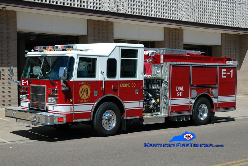 <center> Paducah  Engine 4 <br> *Shown as Engine 1<br> 2009 Pierce Contender 1500/750 <br> Greg Stapleton photo </center>