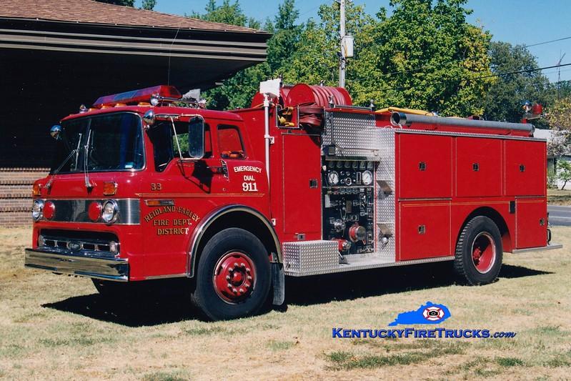 <center> RETIRED <br> Reidland Farley  Engine 33 <br> 1981 Ford C/Pierce 1000/1250 <br> Greg Stapleton photo </center>