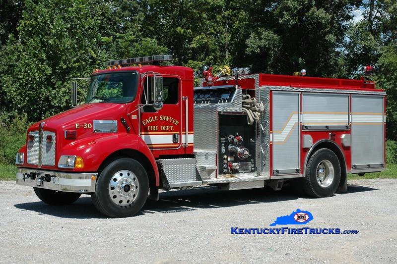 <center> Eagle-Sawyer Engine 30 <br> 2004 Kenworth T-300/Pierce 1250/1000 <br> Greg Stapleton photo </center>