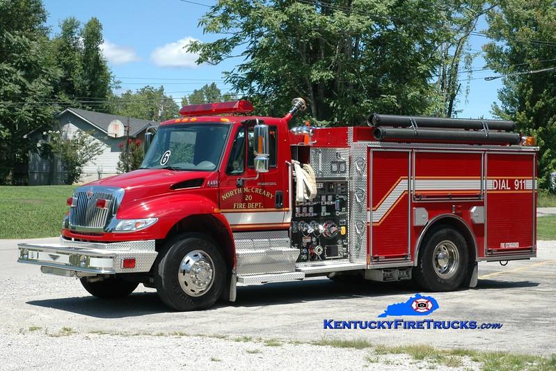 <center> North McCreary  Engine 20 <br> 2005 International 4400/Pierce 1500/1000 <br> Greg Stapleton photo </center>