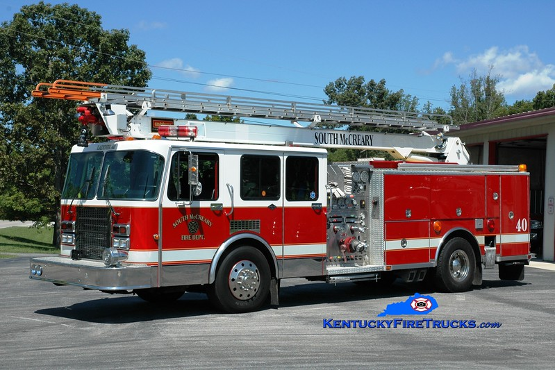 <center> South McCreary  Ladder 40 <br> x-Lakeside, NY <br> 1991 Spartan Gladiator/Saulsbury/KME 2000/500/55' Fire-Stix <br> Greg Stapleton photo </center>