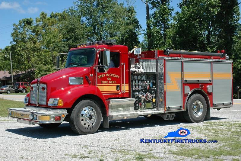 <center> West McCreary  Engine 66 <br> 2004 Kenworth T-300/Pierce 1250/1000 <br> Greg Stapleton photo </center>