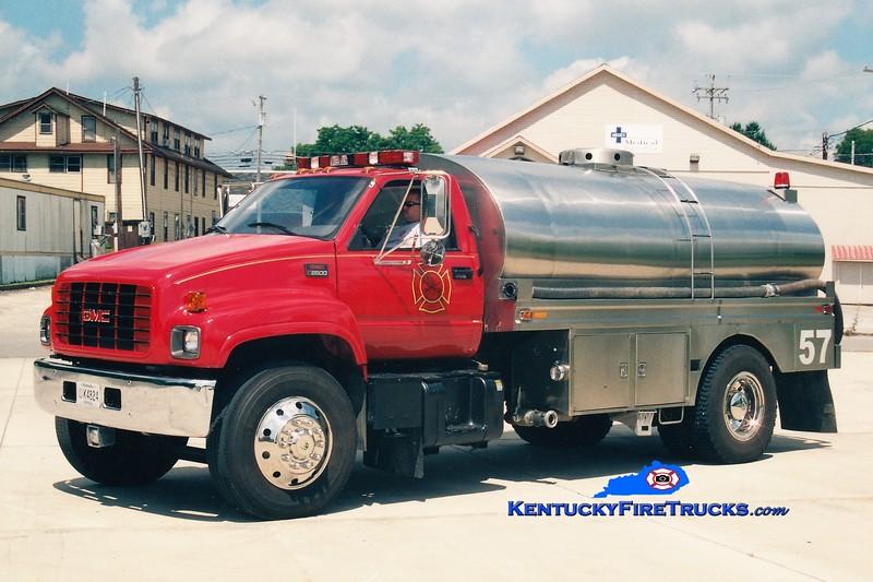 RETIRED <br /> Whitley City  Tanker 57<br /> 2001 GMC C8500/Bluegrass 0/2250<br /> Greg Stapleton photo