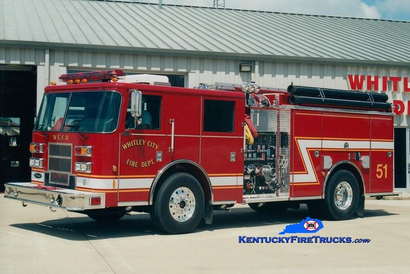 <center> RETIRED <br> Whitley City  Engine 51 <br> 2003 Pierce Contender 1500/1000 <br> Greg Stapleton photo </center>