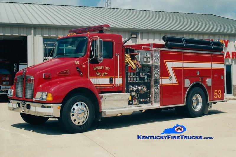 <center> Whitley City  Engine 53 <br> 2002 Kenworth T-300/Pierce 1500/1500 <br> Greg Stapleton photo </center>