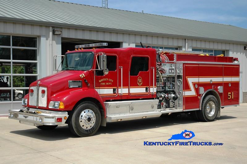 <center> Whitley City  Engine 51 <br> 2007 Kenworth T-300/Pierce 1500/1000 <br> Greg Stapleton photo </center>