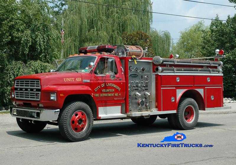<center> RETIRED <br> Livermore  Engine 433 <br> 1979 Ford F-800/E-One 1000/500 <br> Greg Stapleton photo </center>