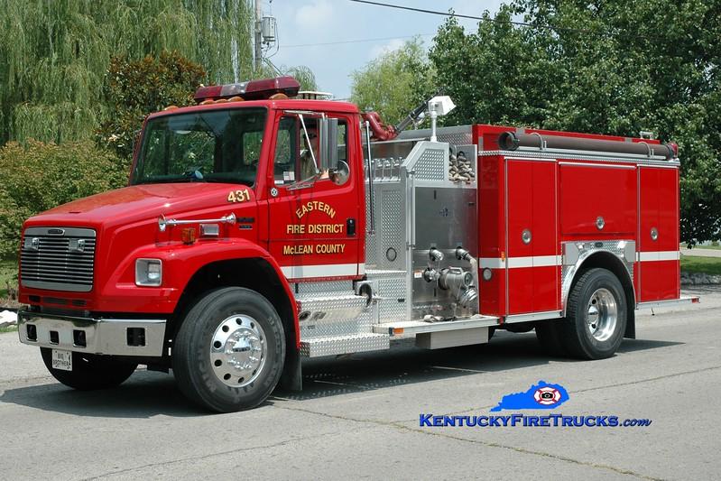 <center> McLean County Eastern District  Engine 431 <br> 2002 Freightliner FL80/E-One 1250/1000 <br> Greg Stapleton photo </center>