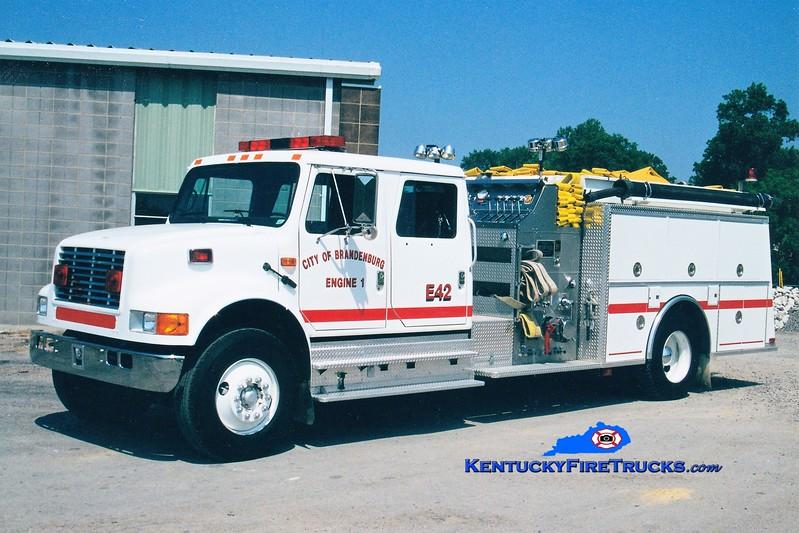 RETIRED<br /> Brandenburg Engine 1<br /> 1992 International 4900/KME 1250/1000<br /> Greg Stapleton photo