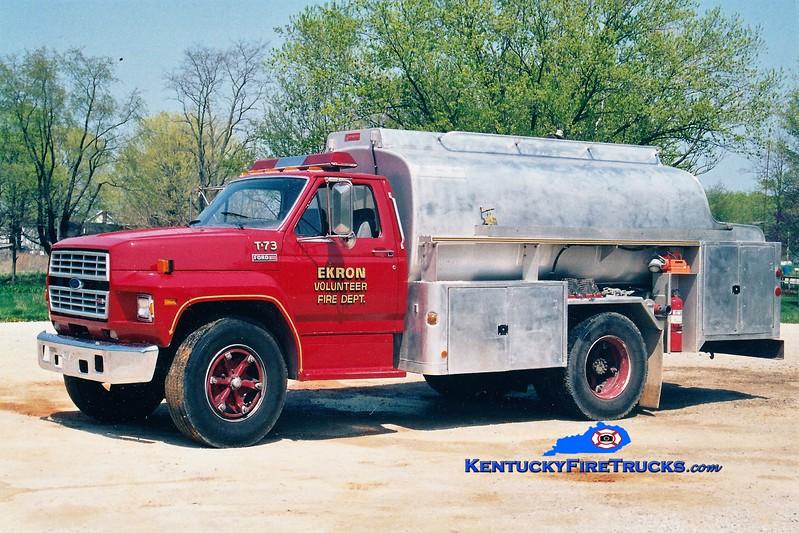 RETIRED <br /> Ekron  Tanker 73<br /> 1985 Ford F/Hahn 250/1500<br /> Greg Stapleton photo