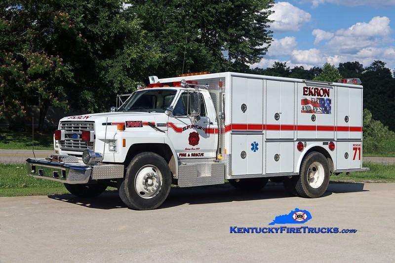 Ekron  Rescue 71<br /> x-Black Mudd, Okolona, & Flaherty, KY<br /> 1985 Ford F-800/Marion<br /> Kent Parrish