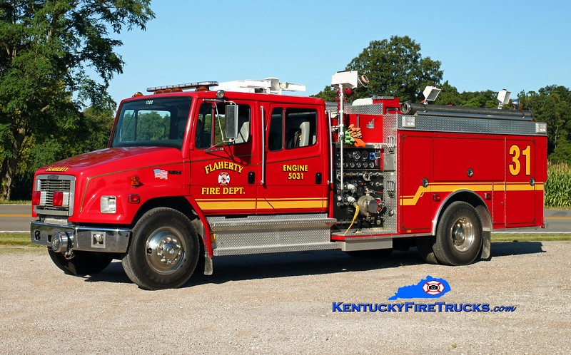 <center> Flaherty  Engine 5031 <br> x-Fairdale, KY <br> 1995 Freightliner FL70/Smeal/2014 Local 1250/800 <br> Kent Parrish photo </center>