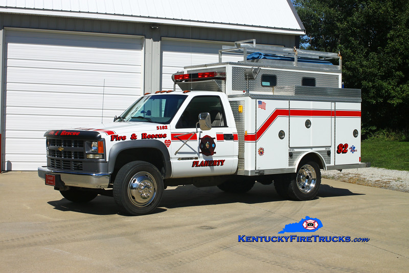 <center> Flaherty  Rescue 5182 <br> 2001 Chevy 3500 4x4/Supreme (older E-One body) <br> Kent Parrish photo </center>