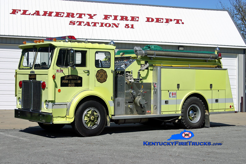 <center> RETIRED <br> Flaherty  Engine 5132 <br> 1977 White Expeditor/Bruco 1250/1000 <br> Kent Parrish photo </center>