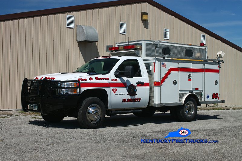 <center> Flaherty  Rescue 5083 <br> 2010 Chevy 3500 4x4/Supreme (older E-One body) <br> Kent Parrish photo </center>