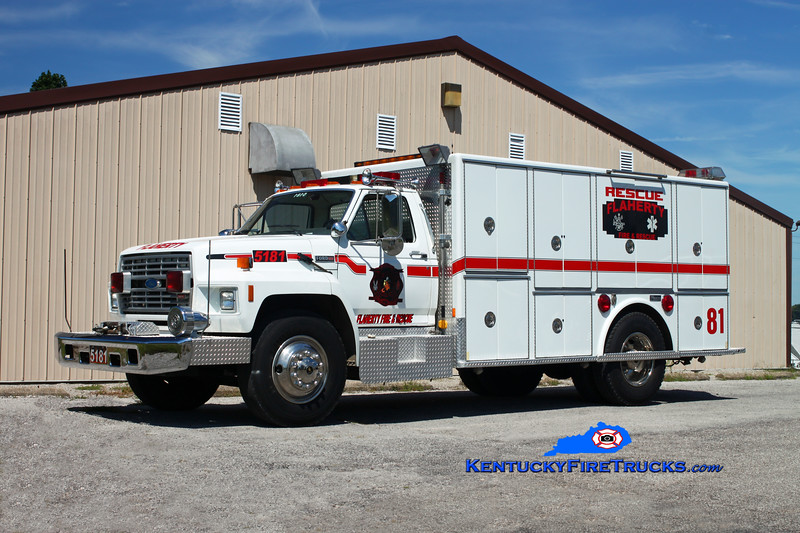 <center> RETIRED <br> Flaherty  Rescue 5181 <br> x-Black Mudd & Okolona, KY <br> 1985 Ford F-800/Marion <br> Kent Parrish photo </center>