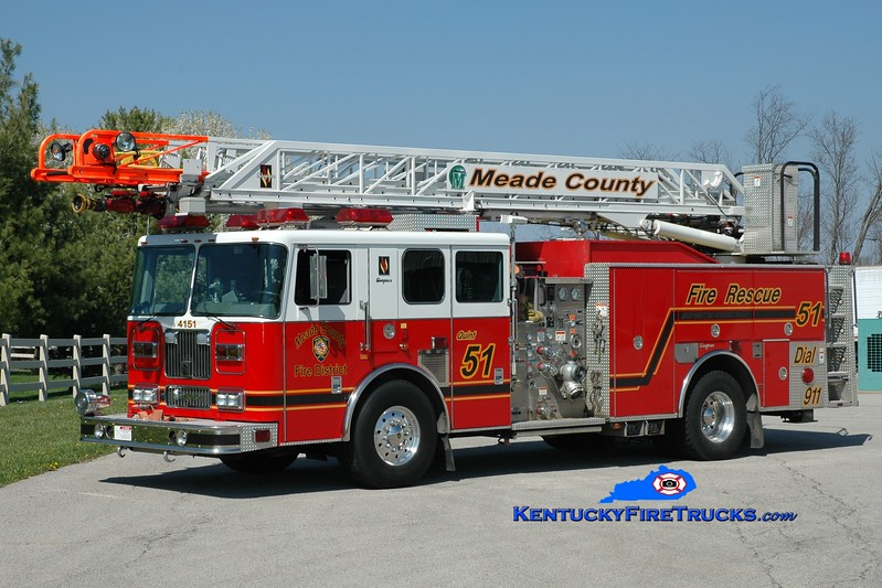 "Meade County  Quint 51<br /> x-Quint 40<br /> 2003 Seagrave Marauder 1500/400/75' ""Meanstick""<br /> Greg Stapleton photo"