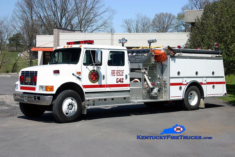 <center> RETIRED <br> Meade County  Engine 42 <br> x-City of Brandenburg, KY <br> 1992 International 4900/KME 1250/1000 <br> Kent Parrish photo </center>