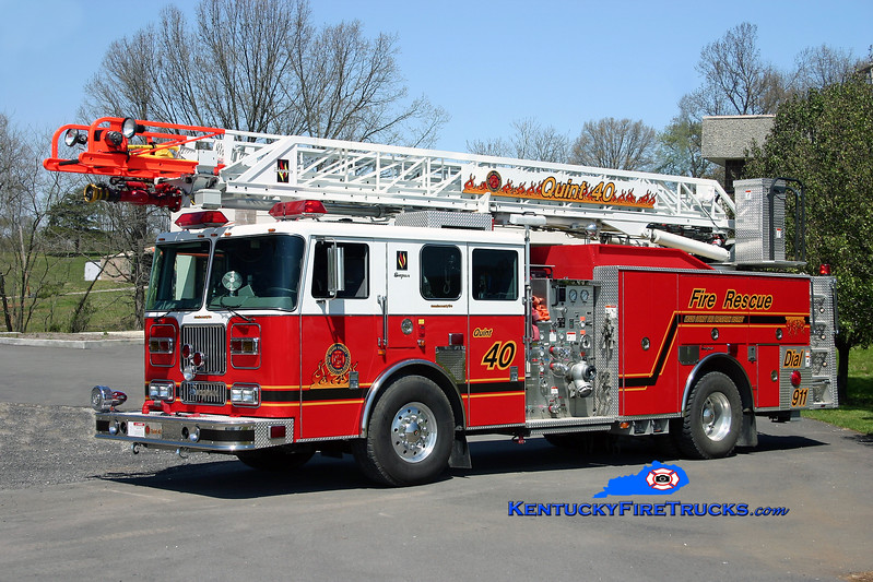 """<center> REASSIGNED <br> Meade County  Quint 40 <br> 2003 Seagrave Marauder 1500/400/75' """"Meanstick"""" <br> Kent Parrish photo </center>"""