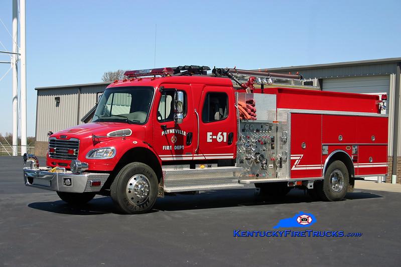 <center> Payneville  Engine 61 <br> 2005 Freightliner M2/KME 1250/1000/30 <br> Kent Parrish photo </center>