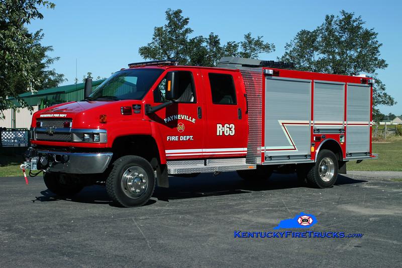 <center> Payneville  Rescue 63 <br> 2010 Chevy C8500 4x4/Wynn <br> Kent Parrish photo </center>