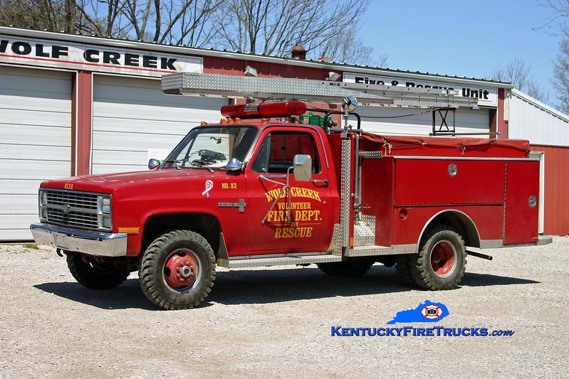 <center> Wolf Creek  Engine 83 <br> 1983 Chevy C30 4x4/Smeal 300/300 <br> Kent Parrish photo </center>
