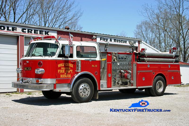 <center> Wolf Creek  Engine 81 <br> x-Cedar Grove, NJ <br> 1978 American LaFrance Century 1000/500 <br> Kent Parrish photo </center>