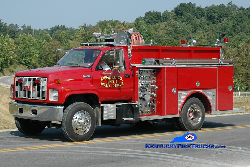 <center> Menifee County  Engine 11 <br> 1999 GMC Topkick/Allegheny 750/750 <br> Greg Stapleton photo <br> </center>