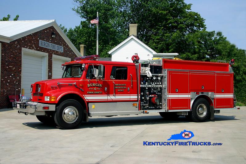 <center>  Burgin Engine 6 <br> 1998 International 4900/E-One 1250/1000 <br> Kent Parrish photo </center>