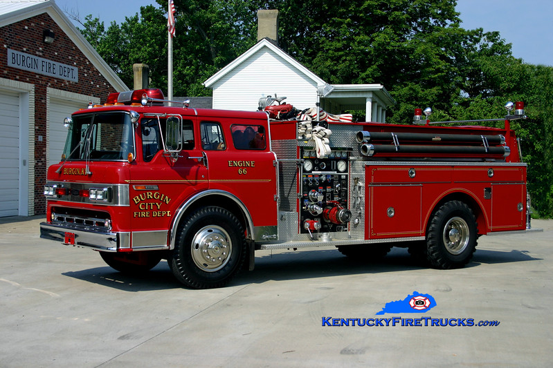 <center> Burgin  Parade Engine <br> *Formerly Engine 66 <br> 1985 Ford C-8000/Pierce 1000/1000 <br> Kent Parrish photo  </center>
