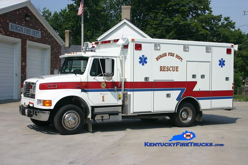 <center> RETIRED <br> Burgin  Rehab 1 <br> 1992 International 4700/Road Rescue <br> Kent Parrish photo </center>