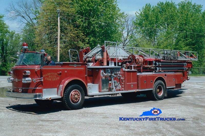 <center> RETIRED <br> Harrodsburg  Ladder 21 <br> 1966 American LaFrance 900 Series 1000/200/85' <br> Greg Stapleton photo </center>
