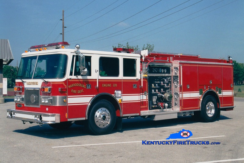 <center> RETIRED <br> Harrodsburg  Engine 220 <br> 2001 Pierce Arrow 1500/1000 <br> Greg Stapleton photo </center>