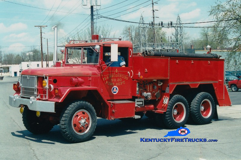 <center> RETIRED <br> Harrodsburg  Engine 20 <br> x-Wright Patterson Air Force Base <br> 1971 AM General 6x6/American Air Filter 500/500 <br> Greg Stapleton photo </center>