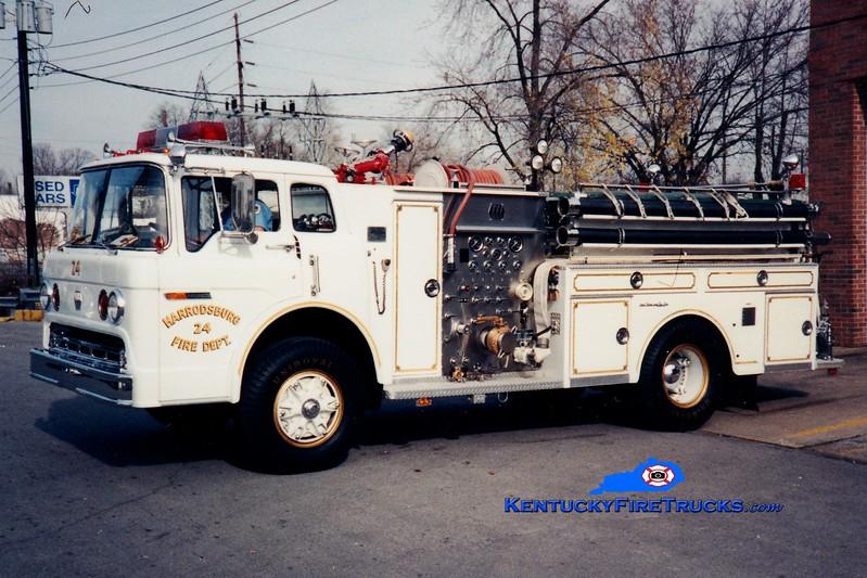 <center> RETIRED <br> Harrodsburg  Engine 24 <br> 1976 Ford C/Jaco 1000/750 <br> Greg Stapleton photo </center>