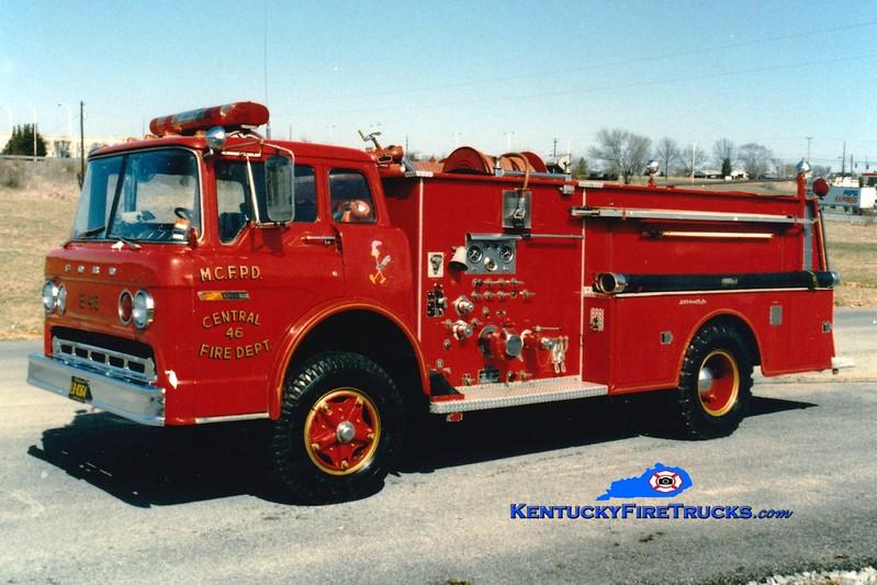 <center> RETIRED <br> Mercer Central  Engine 46 <br> 1975 Ford C/Jaco 750/750 <br> Greg Stapleton photo </center>