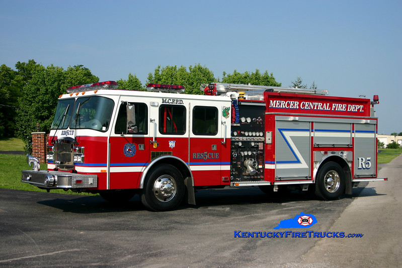 <center> Mercer Central  Rescue 5 <br> 2004 E-One Typhoon 1250/470/30 <br> Kent Parrish photo </center>