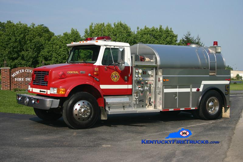 <center> REASSIGNED <br> Mercer Central  Tanker 5 <br> 1996 International 4900/Bluegrass 500/1800 <br> Kent Parrish photo </center>
