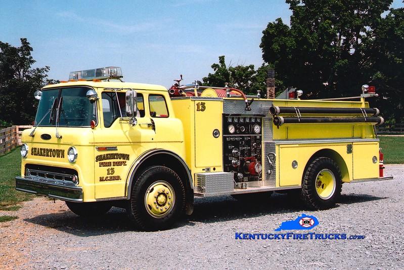 <center> RETIRED <br> Shakertown  Engine 13 <br> x-Cornishville, KY <br> 1985 Ford C/Pierce 1000/750 <br> Greg Stapleton photo </center>