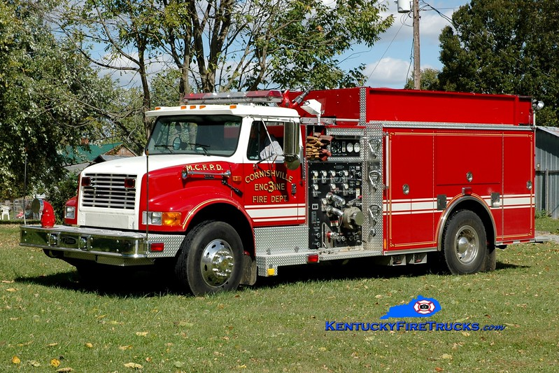 <center> Cornishville  Engine 3 <br> 2000 International 4900/Pierce 1250/1000 <br> Greg Stapleton photo </center>