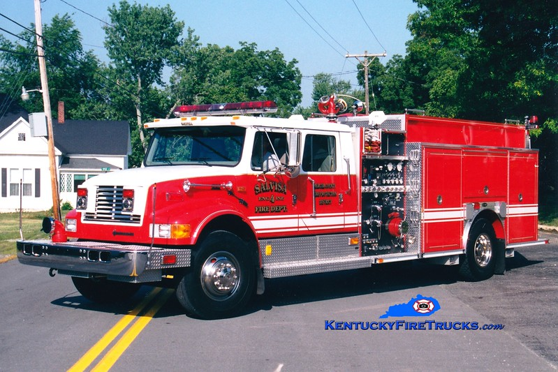 <center> Salvisa  Engine 4 <br> 1999 International 4900/E-One 1250/1000 <br> Greg Stapleton photo </center>