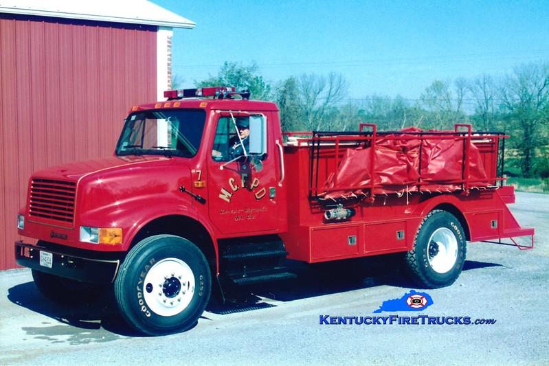 <center> Mercer County  Tanker 7 <br> *Original <br> 1994 International 4900/Montgomery 0/2000 <br> Greg Stapleton photo </center>