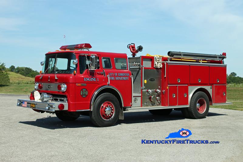 <center> Edmonton  Engine 1 <br> 1989 Ford C-8000/E-One 1250/1000 <br> Kent Parrish photo </center>