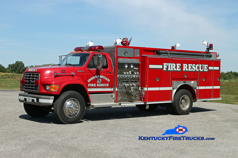 <center> Edmonton-Metcalfe County  Rescue 1 <br> 1995 Ford F-750/E-One 1250/500 <br> Kent Parrish photo </center>