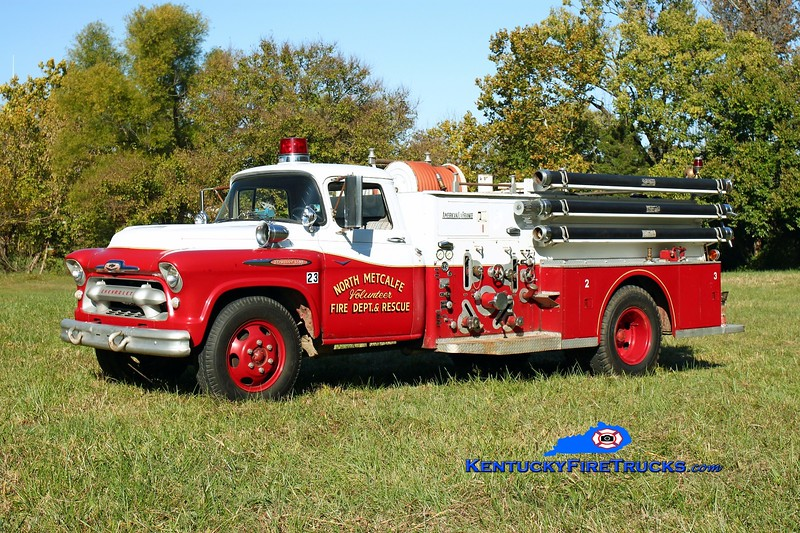 <center> RETIRED <br> North Metcalfe   Engine 23 <br> x-Worthington, KY <br> 1957 Chevy 6500/American LaFrance 750/500 <br> Kent Parrish photo </center>