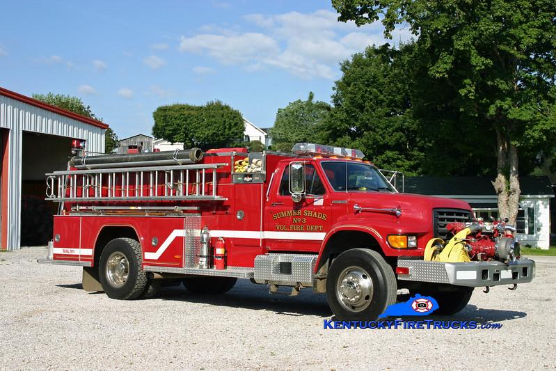 <center> Summer Shade  Engine 93 <br> 1996 Ford F-800/FireMaster 1250/1000 <br> Kent Parrish photo </center>