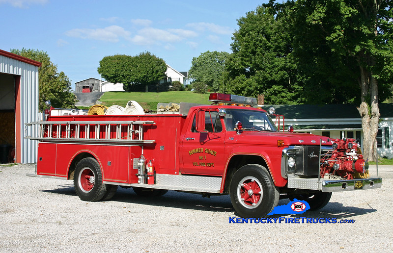 <center> RETIRED <Br> Summer Shade  Engine 1 <br> 1978 Ford F-700/American 1000/750 <br> Kent Parrish photo </center>